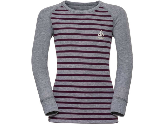 Odlo Active Warm T-shirt Manches longues Col ras-du-cou Enfant, grey melange/pickled beet/stripes